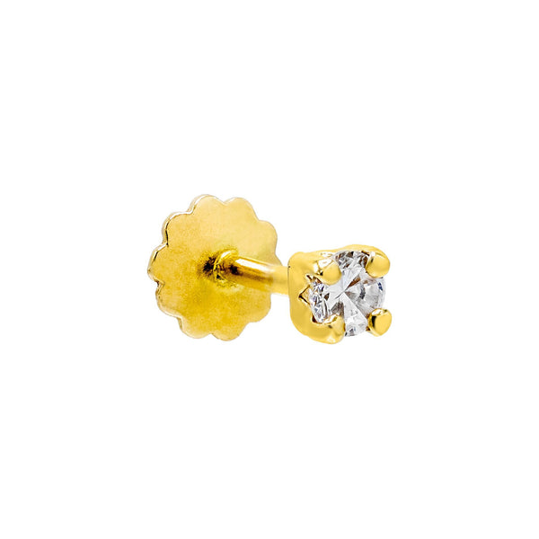 14K Gold / Single / 2 MM CZ Square Threaded Stud Earring 14K - Adina's Jewels