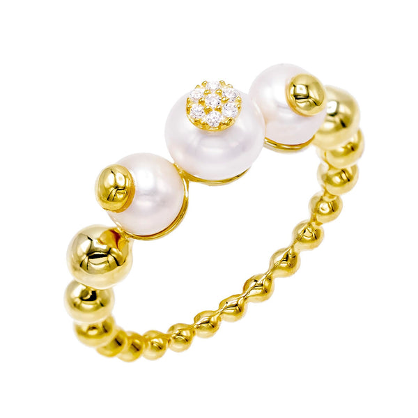 Pearl White / 6 Pearl Trio Bead Ring - Adina's Jewels