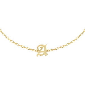 Gold / B Old English Initial Open Link Choker - Adina's Jewels