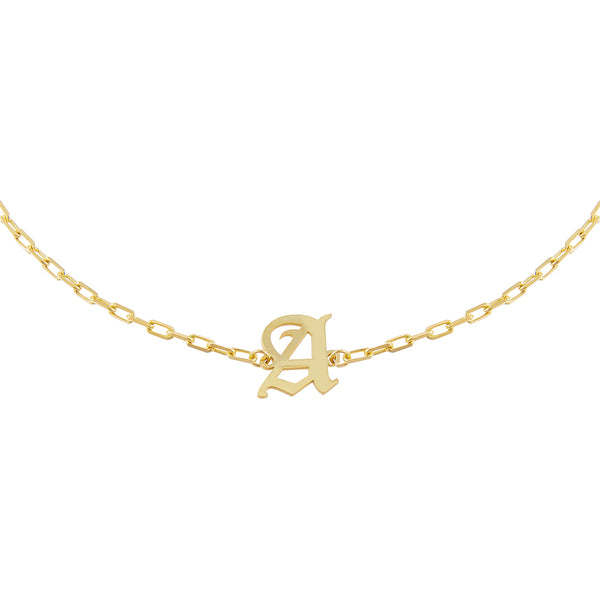 Gold / D Old English Initial Open Link Choker - Adina's Jewels