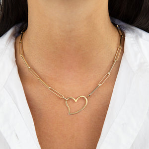 14K Gold Open Heart Link Necklace 14K - Adina's Jewels