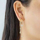Marquise Chain Drop Hoop Earring - Adina's Jewels