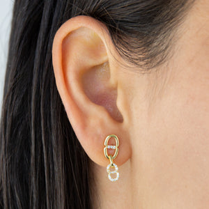 CZ Double Link Drop Earring - Adina's Jewels