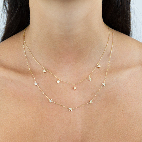 Diamond Multi Star Necklace 14K - Adina's Jewels