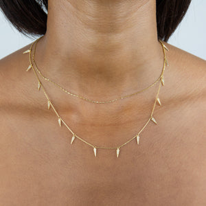 Diamond Dangling Spike Necklace 14K - Adina's Jewels