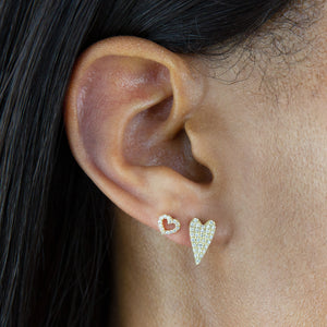 Diamond Long Heart Stud Earring 14K - Adina's Jewels