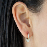 Diamond Mini Butterfly Huggie Earring 14K - Adina's Jewels
