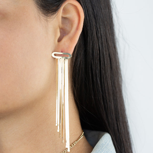Herringbone Chandelier Earring 14K - Adina's Jewels