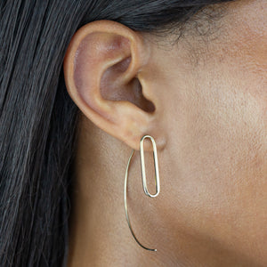 Oval Link Threader Earring 14K  - Adina's Jewels