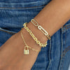 Pavé Safety Pin Oval Link Bracelet - Adina's Jewels