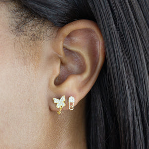 Pavé Butterfly Chain Stud Earring  - Adina's Jewels