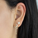 CZ Crescent Chain Drop Stud Earring - Adina's Jewels