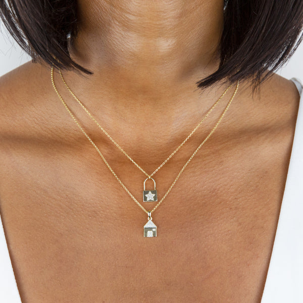 Pavé Star Lock Necklace - Adina's Jewels