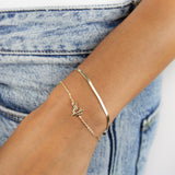 Thin Herringbone Bracelet 14K - Adina's Jewels