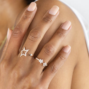 Pavé Open Star Wrap Ring - Adina's Jewels