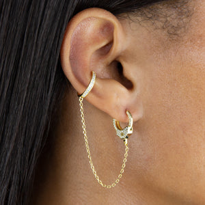 CZ Handcuff Chain Ear Cuff X Huggie Earring - Adina's Jewels