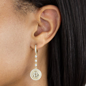Pavé Coin Drop Huggie Earring - Adina's Jewels