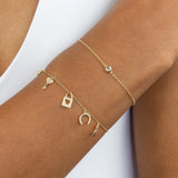 Diamond Love Charms Bracelet 14K  - Adina's Jewels