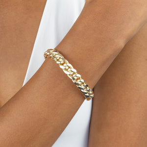 Wide Cuban Chain Bangle 14K - Adina's Jewels