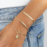 Engravable Solid Bar Chain Link Bracelet 14K - Adina's Jewels