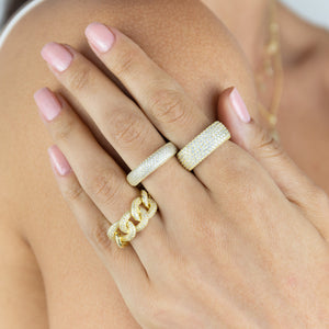 Pavé Oval Chain Link Ring - Adina's Jewels