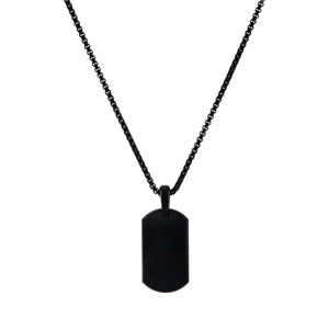 Onyx Onyx Matte Dog Tag Necklace - Adina's Jewels
