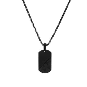 Onyx Matte Studded Dog Tag Necklace - Adina's Jewels