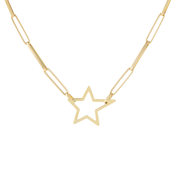 14K Gold Open Star Link Necklace 14K - Adina's Jewels