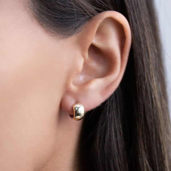 Two-Tone Wide Huggie Earring 14K