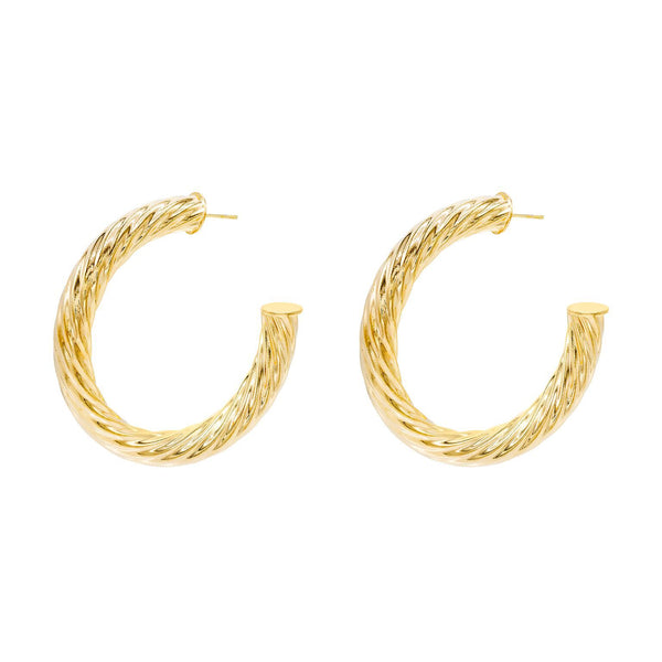 Gold / 55 MM Twist Hoop Earring - Adina's Jewels