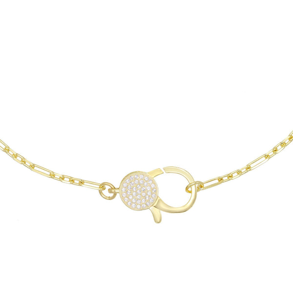 Gold Large CZ Clasp Necklace - Adina's Jewels