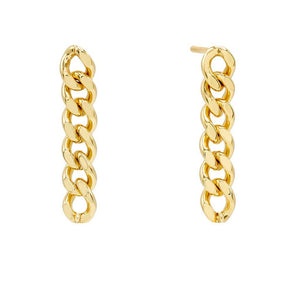 Gold XS Solid Cuban Chain Drop Earring - Adina's Jewels