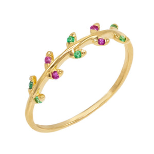 Gold / 7 Multi-Color Leaf Ring - Adina's Jewels