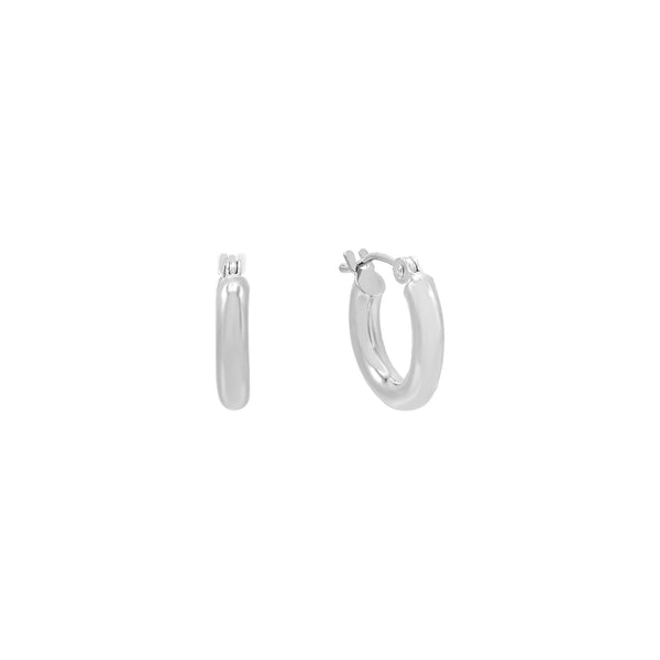 14K White Gold / 15 MM Hollow Hoop Earring 14K - Adina's Jewels