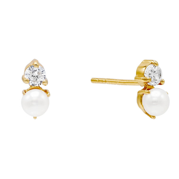 Gold Pearl Stone Stud Earring - Adina's Jewels