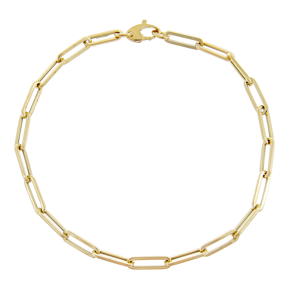 18K Rectangle Link Anklet for Women,Paper Clip Anklets,Gold Filled Chain Anklet,Gold Filled Layering Anklet,Gift for Mom,Minimalist Jewelry,