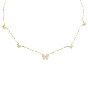 Gold Pavé 5 Butterfly Necklace - Adina's Jewels