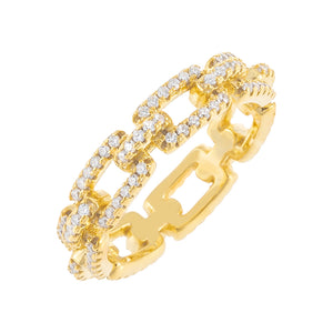 Gold / 7 Pavé Box Link Ring - Adina's Jewels