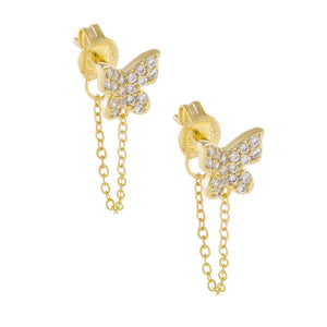 Gold Pavé Butterfly Chain Stud Earring - Adina's Jewels