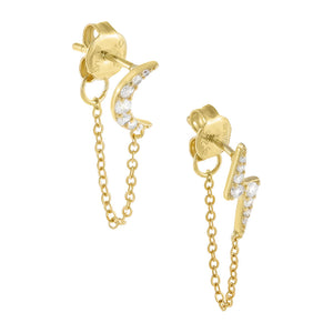 Gold Pavé Celestial Chain Stud Earring - Adina's Jewels