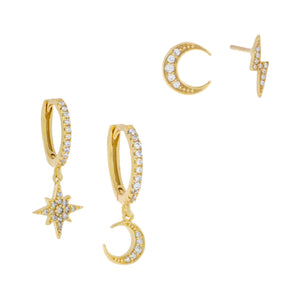 Gold Pavé Celestial Mismatched Earring Combo Set - Adina's Jewels
