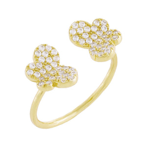 Gold / 6 Pavé Double Butterfly Ring - Adina's Jewels