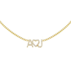 Gold Pavé Heart Nameplate Choker - Adina's Jewels