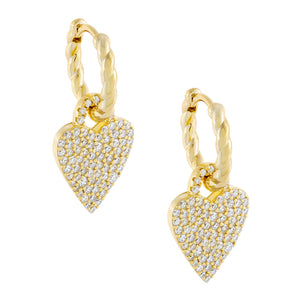 Gold Pavé Heart Rope Huggie Earring - Adina's Jewels