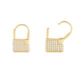 Gold Pavé Lock Huggie Earring - Adina's Jewels