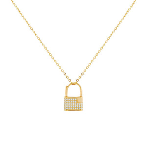 Gold Pavé Mini Lock Necklace - Adina's Jewels