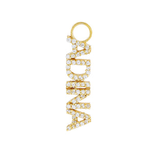 Gold / Single Charm Pavé Mini Nameplate Charm - Adina's Jewels