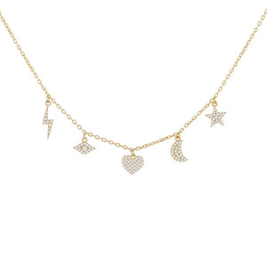 Gold Pavé Multi Charms Necklace - Adina's Jewels