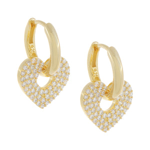 Gold Pavé Open Heart Huggie Earring - Adina's Jewels