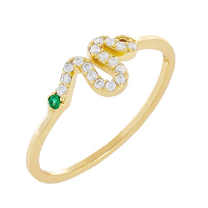 Gold / 6 Pavé Snake Dainty Ring - Adina's Jewels